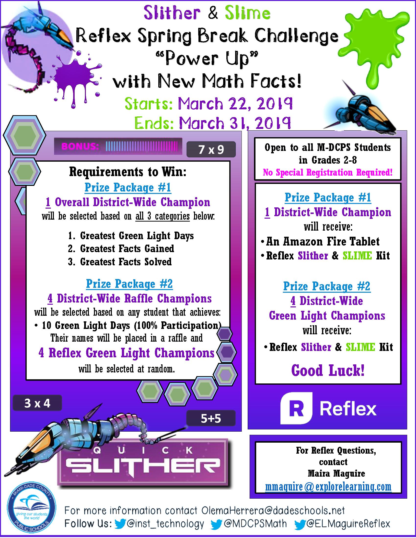 2019 Spring Break Reflex Math Challenge