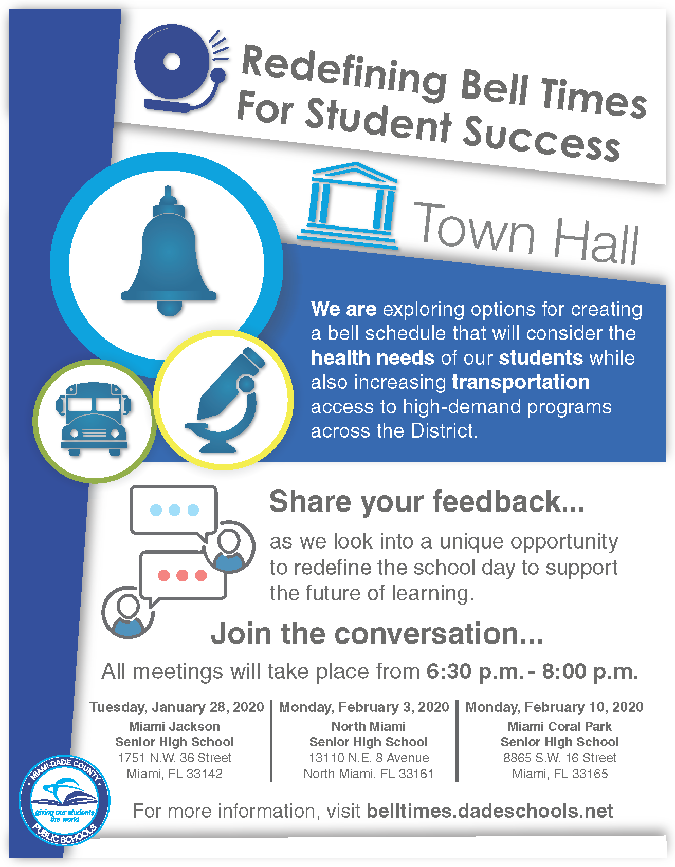 Bell Schedule Town Hall Flyer