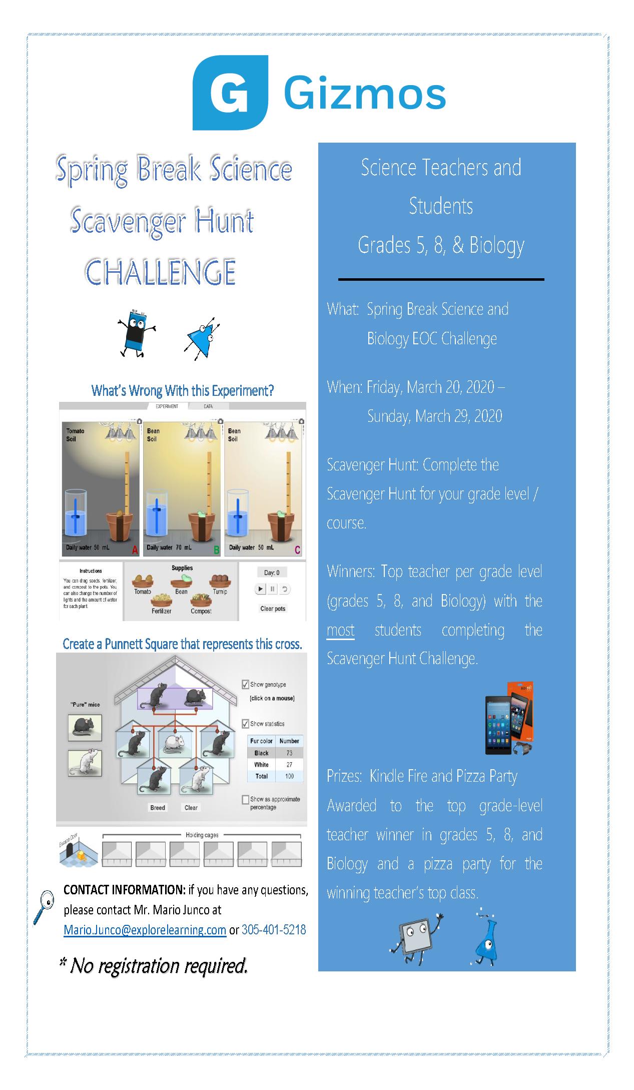 Gizmos Spring Break Science Scavenger Hunt Challenge Flyer