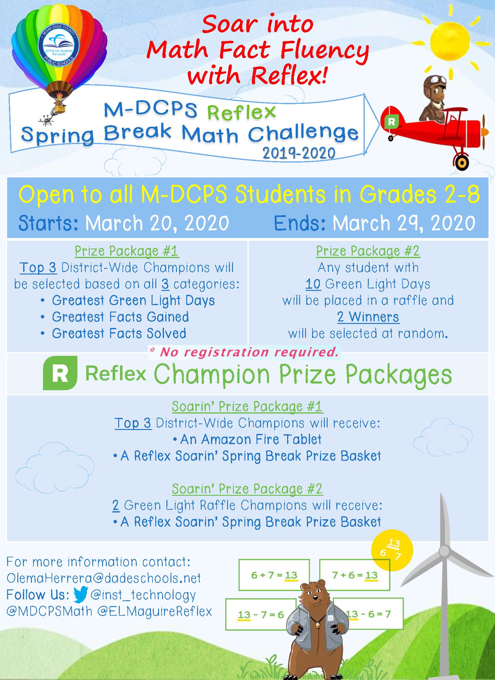 Relex Spring Break Math Challenge Flyer