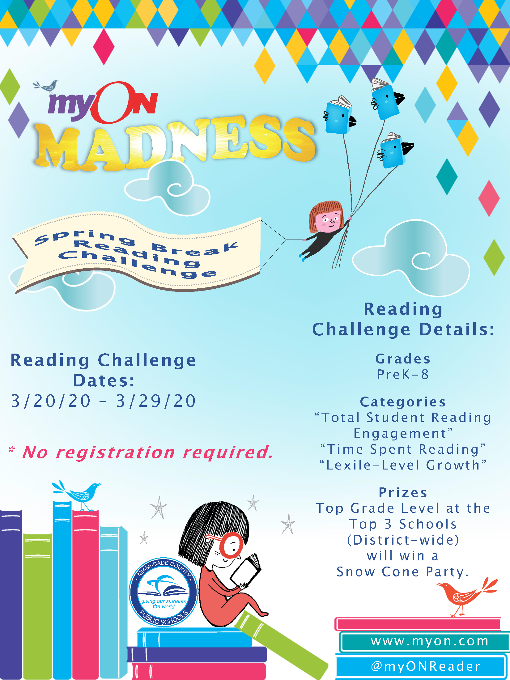 myOn Spring Break Reading Challenge Flyer