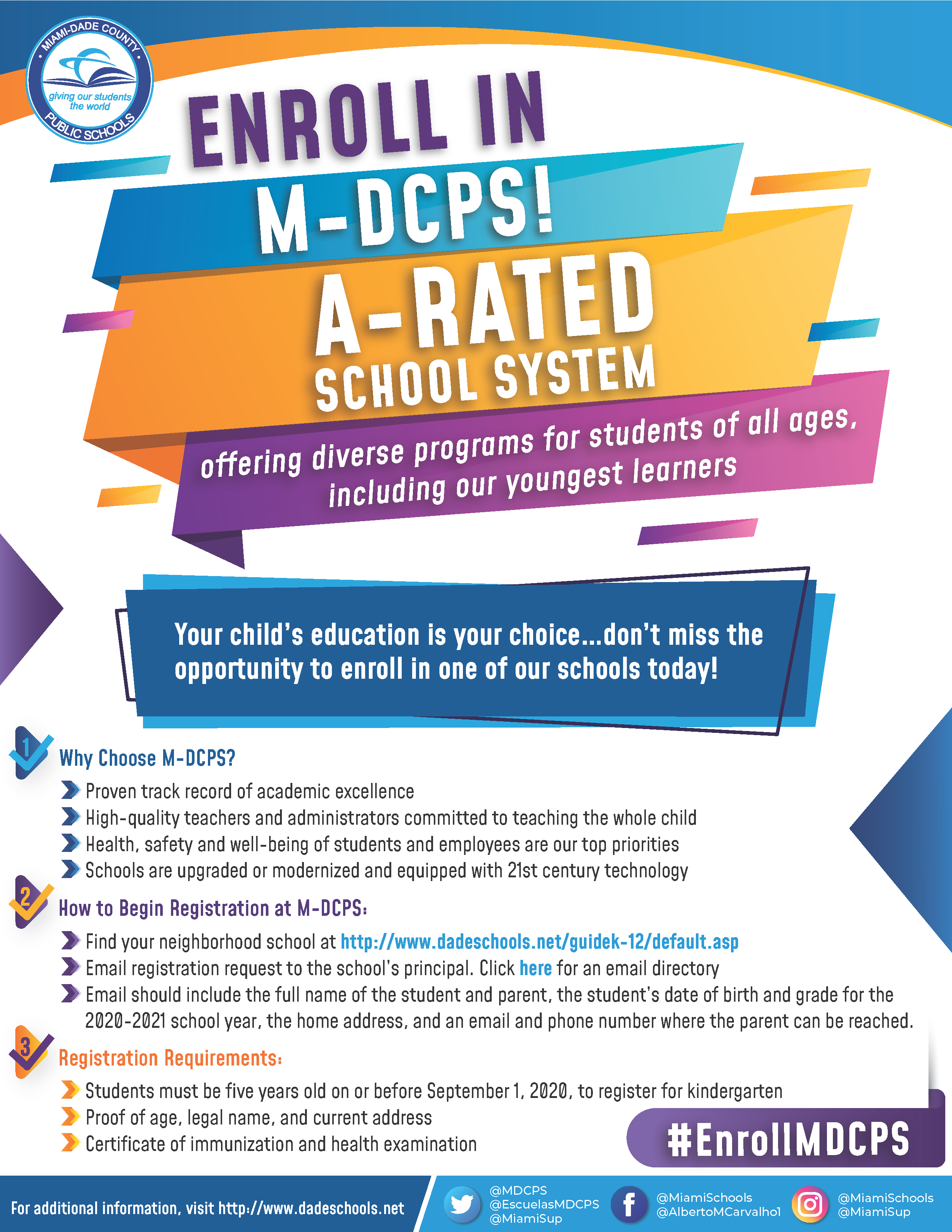 page one of enrollment flyer